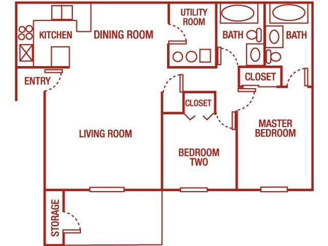 Elk Run Apartments - 2 Bedroom 2 Bath