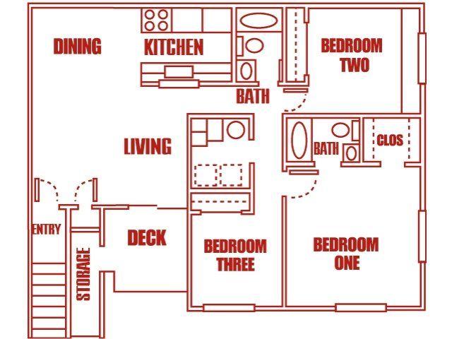 Three Bedroom highland pointe apartments - salt lake city, utah | floor plan
